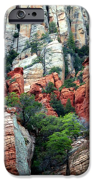 Gray and Orange Sedona Cliff iPhone Case by Carol Groenen
