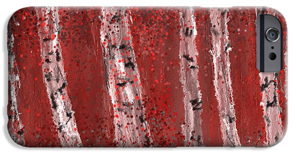 Pantone iPhone Cases - Gray and Red Birch Trees- Marsala Art iPhone Case by Lourry Legarde