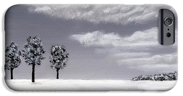Snowy Day iPhone Cases - Gray Day iPhone Case by Linda Koelbel