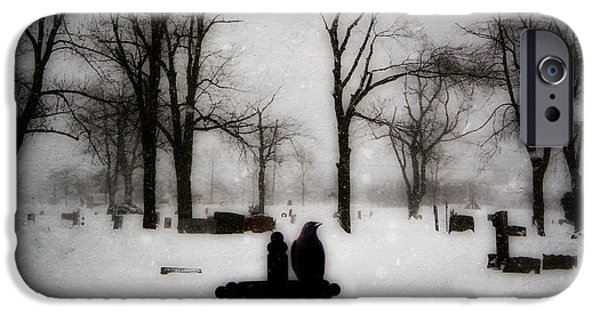 Snow Scene Digital iPhone Cases - Gray Winter iPhone Case by Gothicolors Donna Snyder