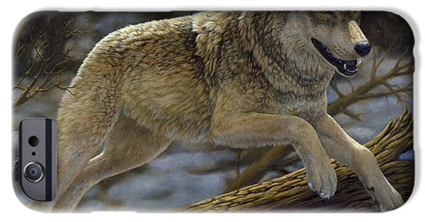 Wild Animals iPhone Cases - Gray Wolf - Just for Fun iPhone Case by Crista Forest