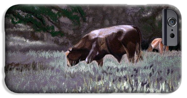 Bulls Pastels iPhone Cases - Grazing Bull					 iPhone Case by Tanya Provines