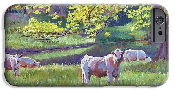 Pastoral iPhone Cases - Grazing By the Lake iPhone Case by David Lloyd Glover