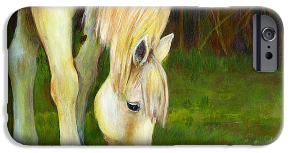 Conceptual Paintings iPhone Cases - Grazing Horse iPhone Case by Blenda Studio