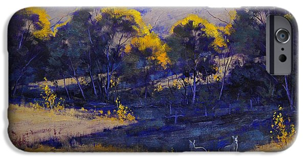 Rural iPhone Cases - Grazing Kangaroos iPhone Case by Graham Gercken