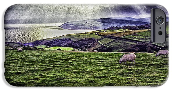Grazing Sheep iPhone Cases - Grazing Sheep Dramatic Sky iPhone Case by Thomas R Fletcher