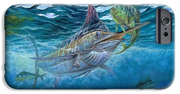 Marlin Azul iPhone Cases - Great Blue And Mahi Mahi Underwater iPhone Case by Terry Fox