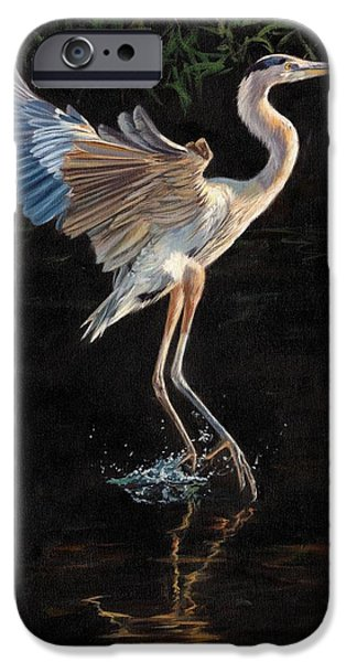 Fowl iPhone Cases - Great Blue Heron iPhone Case by David Stribbling