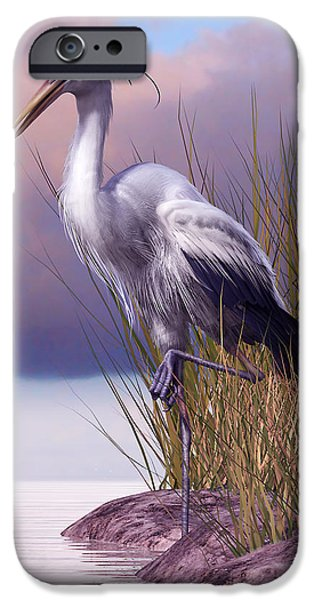 Sea Birds iPhone Cases - Great Blue Heron iPhone Case by Gary Hanna