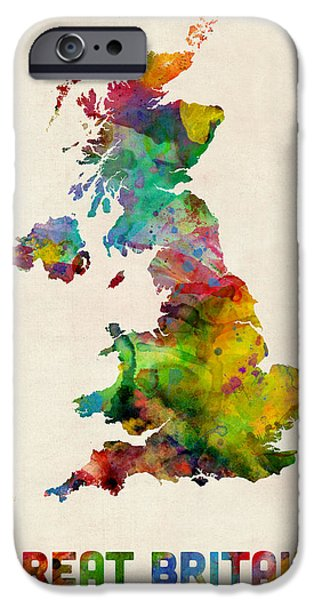 Great Britain iPhone Cases - Great Britain Watercolor Map iPhone Case by Michael Tompsett