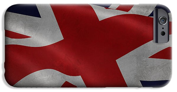 Waving Flag Mixed Media iPhone Cases - Great Britains flag waving on canvas iPhone Case by Eti Reid