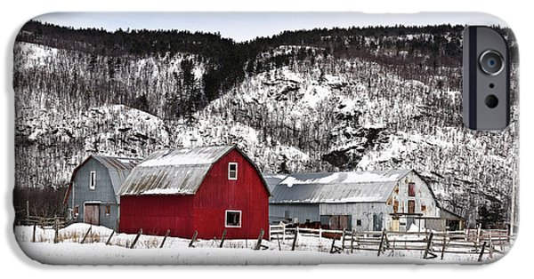 Best Sellers -  - Red Barn In Winter iPhone Cases - Great Canadian Red Barn in Winter iPhone Case by Peter v Quenter