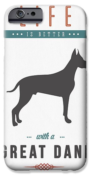 Canine Mixed Media iPhone Cases - Great Dane 01 iPhone Case by Aged Pixel