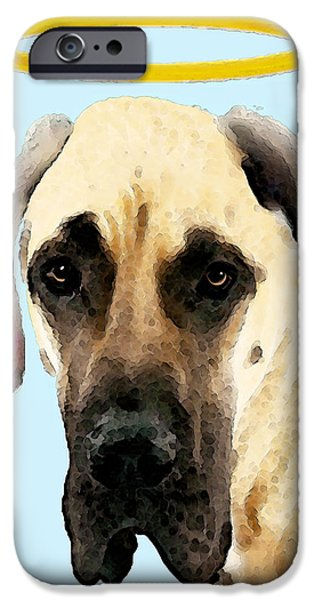 Black Dog iPhone Cases - Great Dane Art - I Didnt Do It iPhone Case by Sharon Cummings