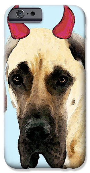 Great Dane iPhone Cases - Great Dane Art - Ok Maybe I Did iPhone Case by Sharon Cummings