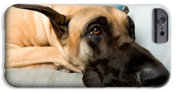 Recently Sold -  - Furniture iPhone Cases - Great Dane Dog on sofa iPhone Case by Lanjee Chee