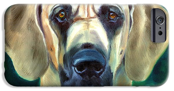 Great Dane Puppy iPhone Cases - Great Dane Nobility iPhone Case by Lyn Cook