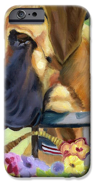Pansy iPhone Cases - Great Dane on balcony iPhone Case by Lyn Cook