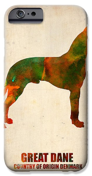 Puppy Digital Art iPhone Cases - Great Dane Poster iPhone Case by Naxart Studio