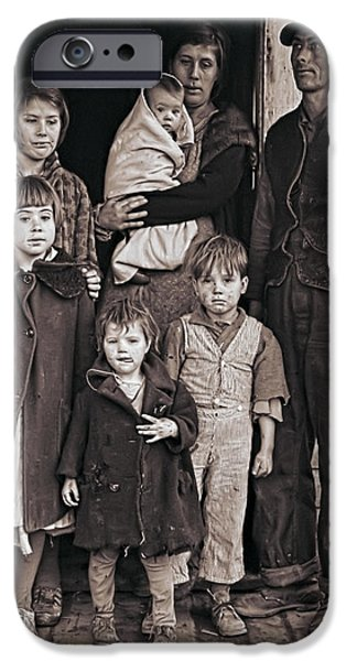Family Time iPhone Cases - Great Depression Iowa Farm Family  1936 iPhone Case by Daniel Hagerman