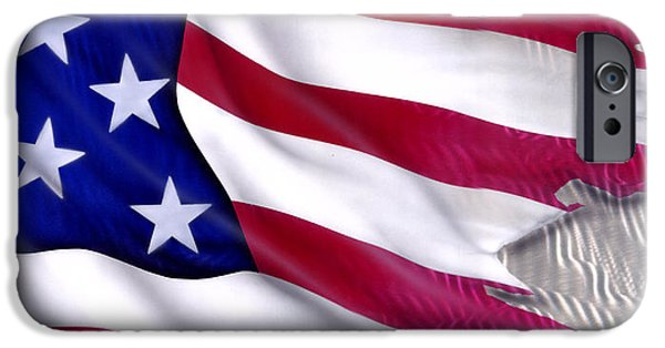Old Glory Paintings iPhone Cases - Great Flag iPhone Case by Luis  Navarro
