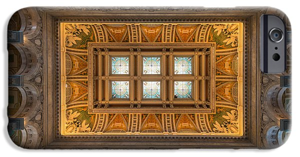 D.c. iPhone Cases - Great Hall Ceiling Library Of Congress iPhone Case by Steve Gadomski
