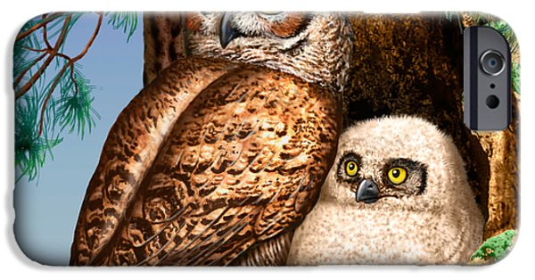 Nature Scene iPhone Cases - Great horned owl and baby in nest - Art - owls in tree - owls in nest -owls in forest iPhone Case by Walt Curlee