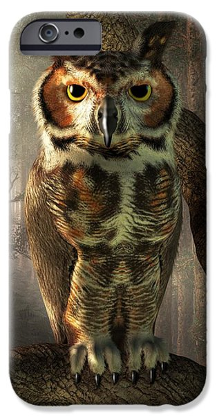Hooters iPhone Cases - Great Horned Owl iPhone Case by Daniel Eskridge