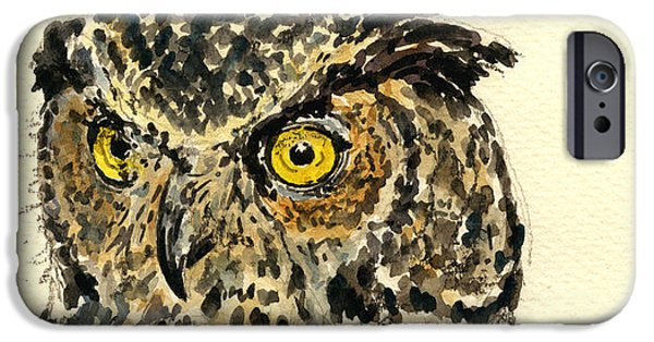 Nature Study Paintings iPhone Cases - Great Horned Owl iPhone Case by Juan  Bosco