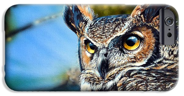 Recently Sold -  - Airbrush iPhone Cases - Great Horned Owl iPhone Case by Lisa Clough Lachri