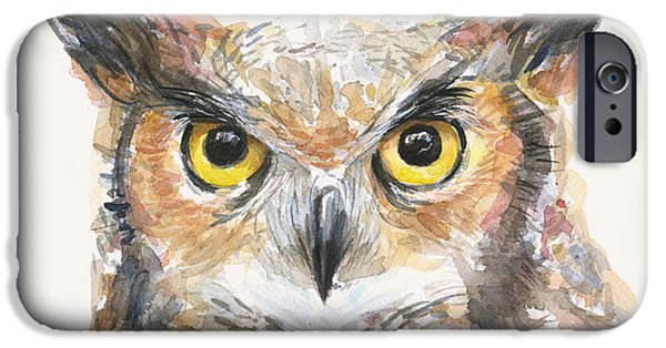 Animal Portraits iPhone Cases - Great Horned Owl Watercolor iPhone Case by Olga Shvartsur