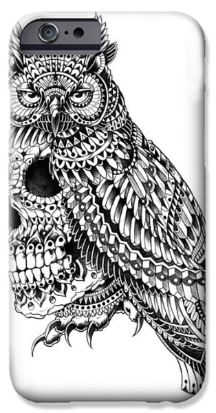 Artwork Drawings iPhone Cases - Great Horned Skull iPhone Case by BioWorkZ