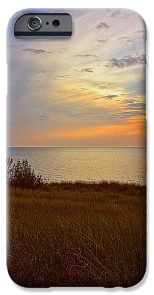 Sunset At The Lake iPhone Cases - Great Lake Great Sunset iPhone Case by Michelle Calkins