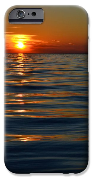 Sunset At The Lake iPhone Cases - Great Lake Sunset iPhone Case by Michelle Calkins