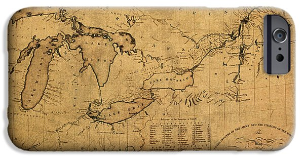 River Mixed Media iPhone Cases - Great Lakes and Canada Vintage Map on Worn Canvas Circa 1812 iPhone Case by Design Turnpike