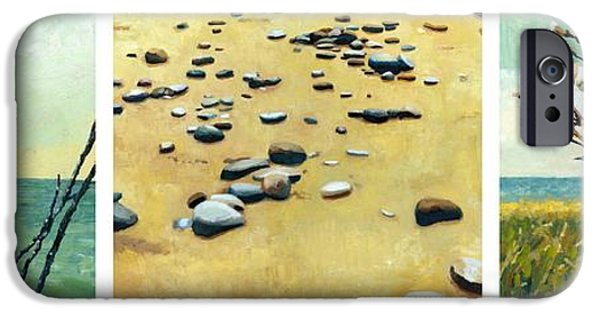 Beach Landscape Digital iPhone Cases - Great Lakes Triptych iPhone Case by Michelle Calkins