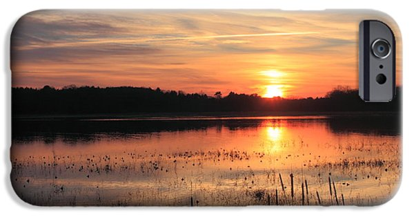 Concord Massachusetts iPhone Cases - Great Meadows National Wildlife Refuge Sunset iPhone Case by John Burk
