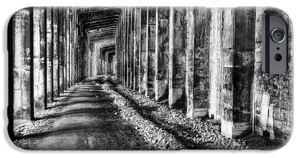 Eerie iPhone Cases - Great Northern Railroad Snow Shed - Black and White iPhone Case by Mark Kiver