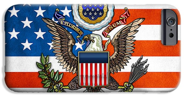 Great Seal Of The United States iPhone Cases - Great Seal and Flag of the USA iPhone Case by Serge Averbukh