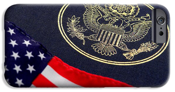 Flag Colors iPhone Cases - Great Seal of the United States and American Flag iPhone Case by Olivier Le Queinec