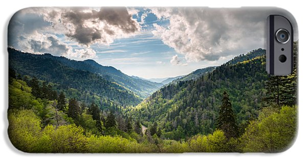 Morton iPhone Cases - Great Smoky Mountains Landscape Photography - Spring at Mortons Overlook iPhone Case by Dave Allen