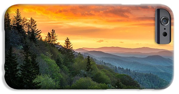 Smoky iPhone Cases - Great Smoky Mountains North Carolina Scenic Landscape Cherokee Rising iPhone Case by Dave Allen