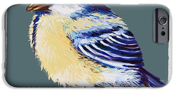 Abstract Digital Paintings iPhone Cases - Great tit iPhone Case by Veronica Minozzi