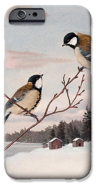 Europa Paintings iPhone Cases - Great Tits iPhone Case by Celestial Images