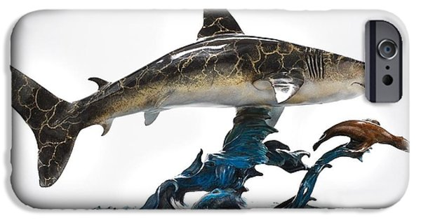 Shark Sculptures iPhone Cases - Great White chasing Sea Lion iPhone Case by Victor Douieb