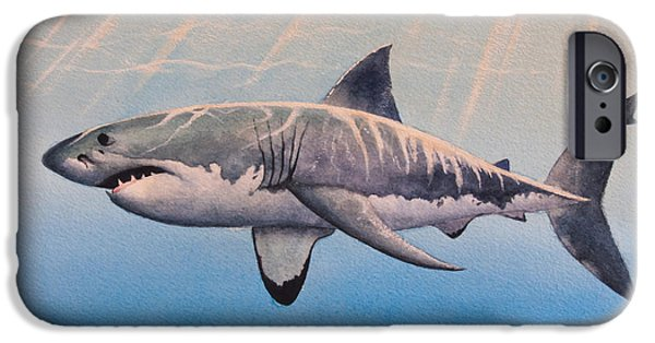 Shark Paintings iPhone Cases - Great White iPhone Case by James Zeger