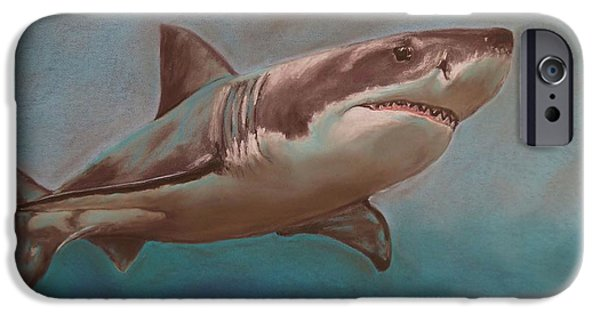 Shark Pastels iPhone Cases - Great White Shark iPhone Case by Kevin Hubbard