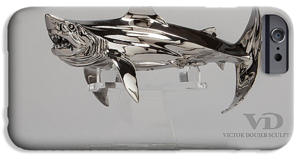 Shark Sculptures iPhone Cases - Great White small iPhone Case by Victor Douieb