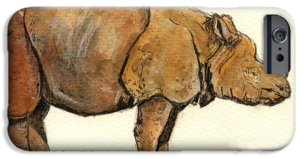 One Horned Rhino Paintings iPhone Cases - Greated one horned rhinoceros iPhone Case by Juan  Bosco