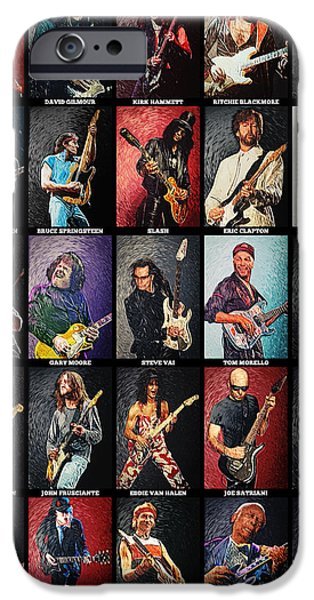 Decorative Digital Art iPhone Cases - Greatest guitarists of all time iPhone Case by Taylan Soyturk